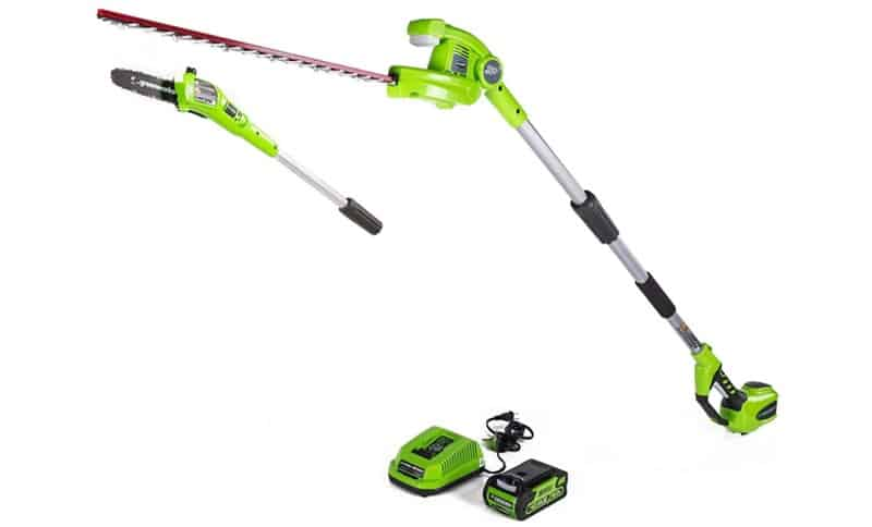 Greenworks PSPH40B210 8 Inch 40V Cordless Pole Saw with Hedge Trimmer